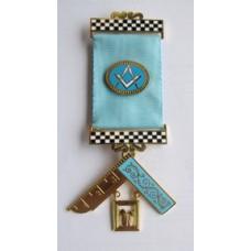 - P M Breast Jewel - S&c Ribbon Emblem, Chequer Bars