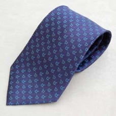 G374 Tie - Blue On Blue  Multi-emblem Square & Compass