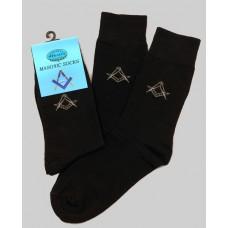 Masonic Black Socks -short Fitting  With Discreet Square & Comp Size 6-11