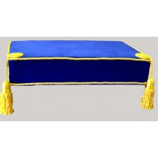 F028 Bible Cushion Blue Velvet Yellow Trimmed